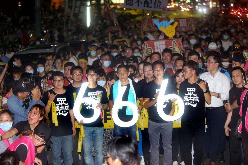 吳怡農今晚出席罷韓團體「追念二二八遊行」。 中央社