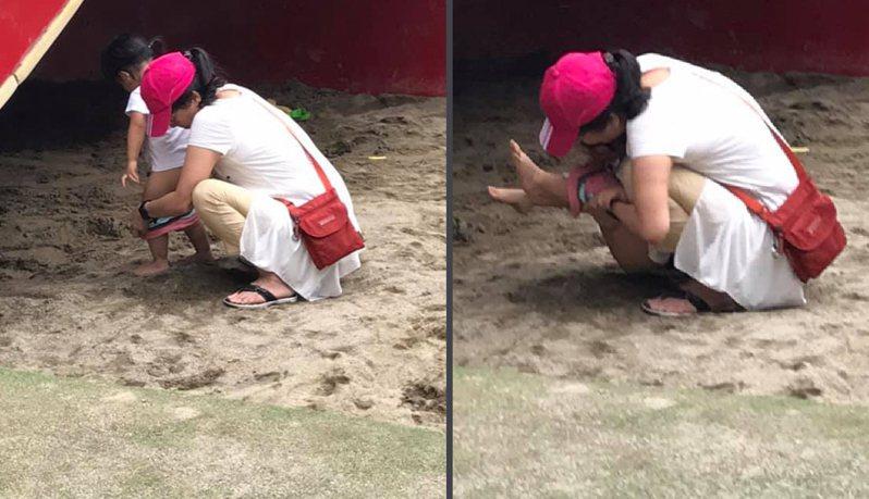 有民眾讓孩童在兒童玩沙區上直接便溺,讓網友直呼不可思議。擷自「我是永和人」社團。