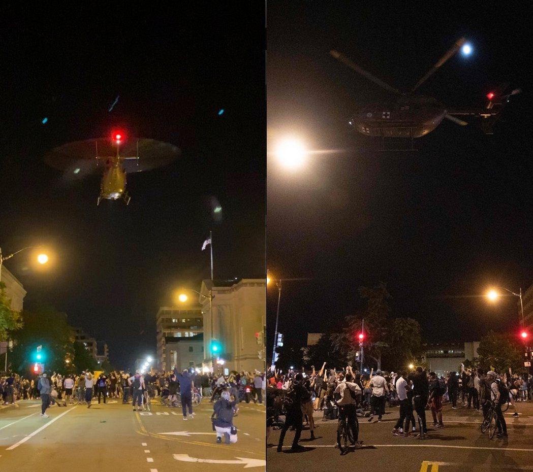 軍方直升機被捕捉到「極低空盤旋」,試圖以風壓與噪音,威嚇驅逐集結中的抗議人潮。 ...