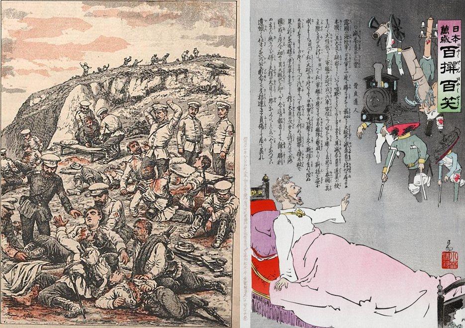 圖左為日俄戰爭陸地戰場的首場大型戰役——遼陽會戰——俄軍傷兵;圖右為日本1904...