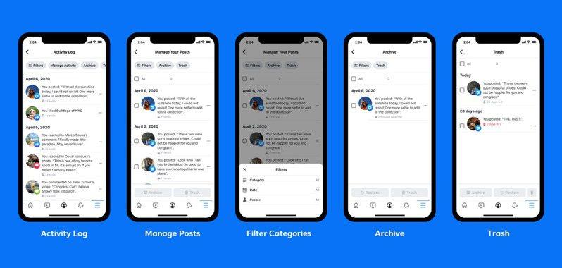 Facebook新推出動態管理工具,幫助用戶快速篩選、管理過往的舊貼文。圖/Facebook提供