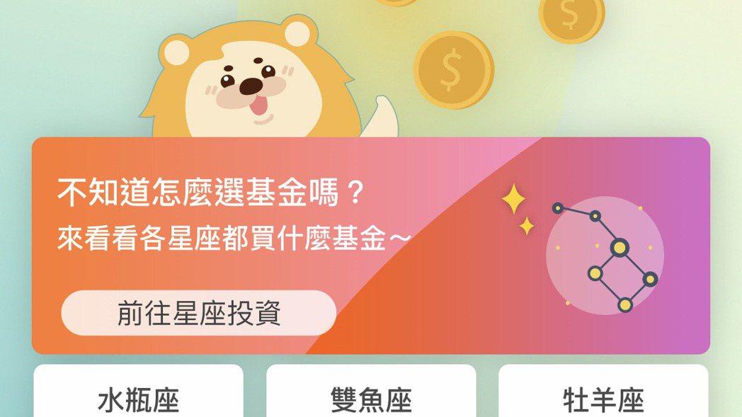 第一銀行星座投資介面。圖/第一銀行提供