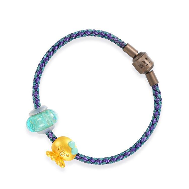 點睛品Charme「Murano Glass彩色玻璃珠組合」章魚足金手鍊,8,0...