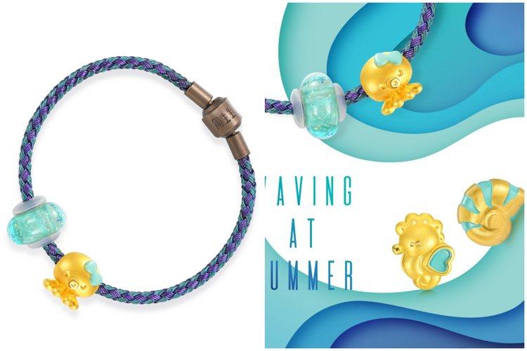點睛品Charme可愛系列海洋世界以深受喜愛的海洋生物為設計靈感創作全新的足金串...