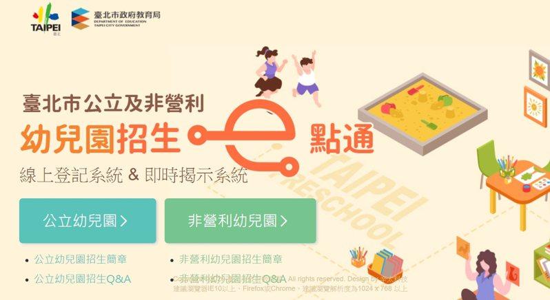 台北市立公立及非營利幼兒園將於6月8日開放招生登記。圖/截取自招生e點通