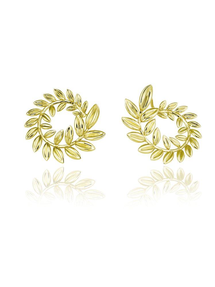 蕭邦Palme Verte系列18K公平採礦認證黃金耳環,價格店洽。圖/蕭邦提供