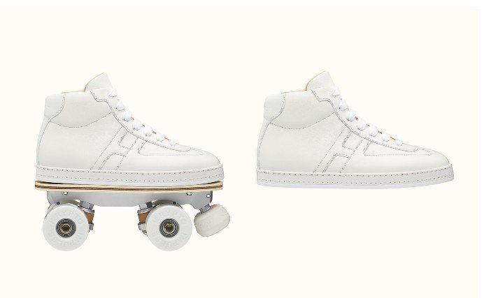 愛馬仕近日推出一雙四輪溜冰鞋,純白配色超有氣質,重點是輪子還可以拆除,自由變化又有時代感,相信一定擄獲不少人的芳心。圖/愛馬仕提供