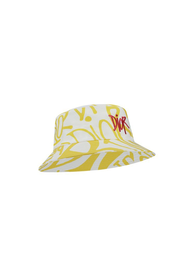 DIOR AND Shawn圖騰與刺繡黃色棉質漁夫帽,16,500元。圖/DIO...