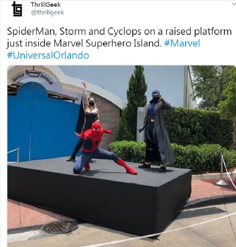 蜘蛛人遮住整張臉口以不戴口罩,不過獨眼龍、暴風女就需要。圖/摘自twitter