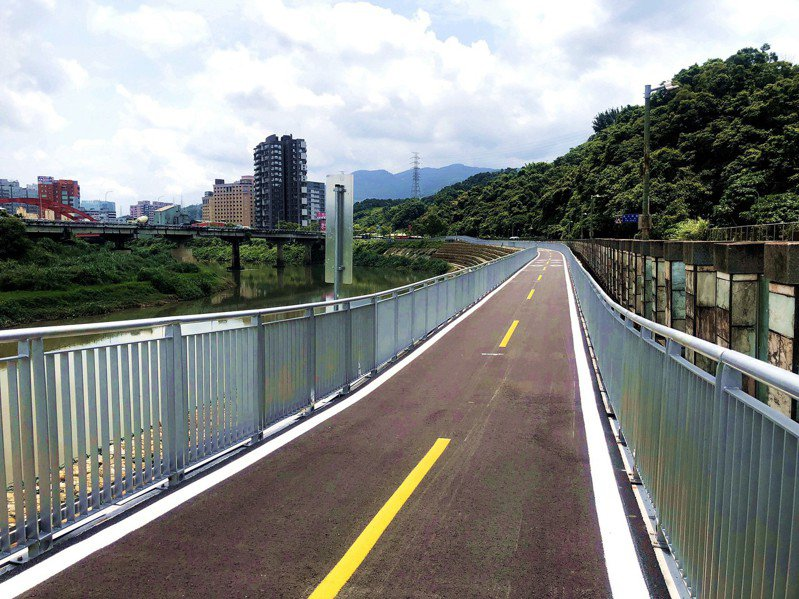 基隆河右岸自行車道開通。圖/新北高管處提供