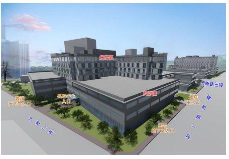 台中市的市立醫院將採BOT方式委外經營,此為建物的意象圖。圖/台中市衛生局提供
