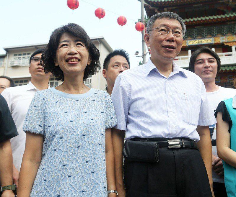 台北市長柯文哲(前右)與妻子陳佩琪(前左)。圖/聯合報系資料照片