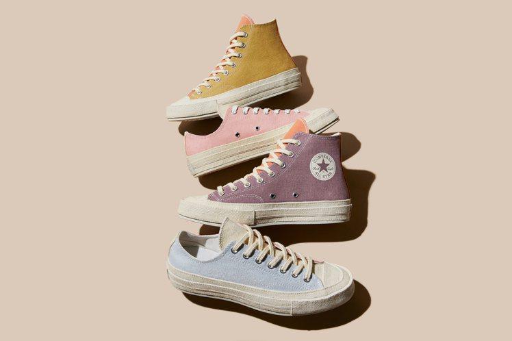 全新Tri-Panel Renew系列鞋款,有著繽紛的馬卡龍配色。圖/Conve...