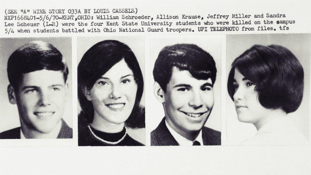 4名死亡的學生,由左至右分別為:施洛德(William Schroeder,心理...