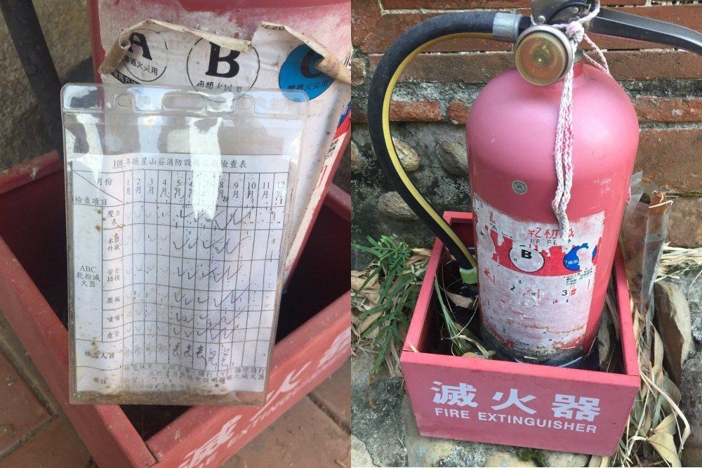 左:10月至12月滅火器沒有檢查;右:一支滅火器泡水,且沒有檢查表。攝於2019年12月13日,台中摘星山莊。 圖/作者提供