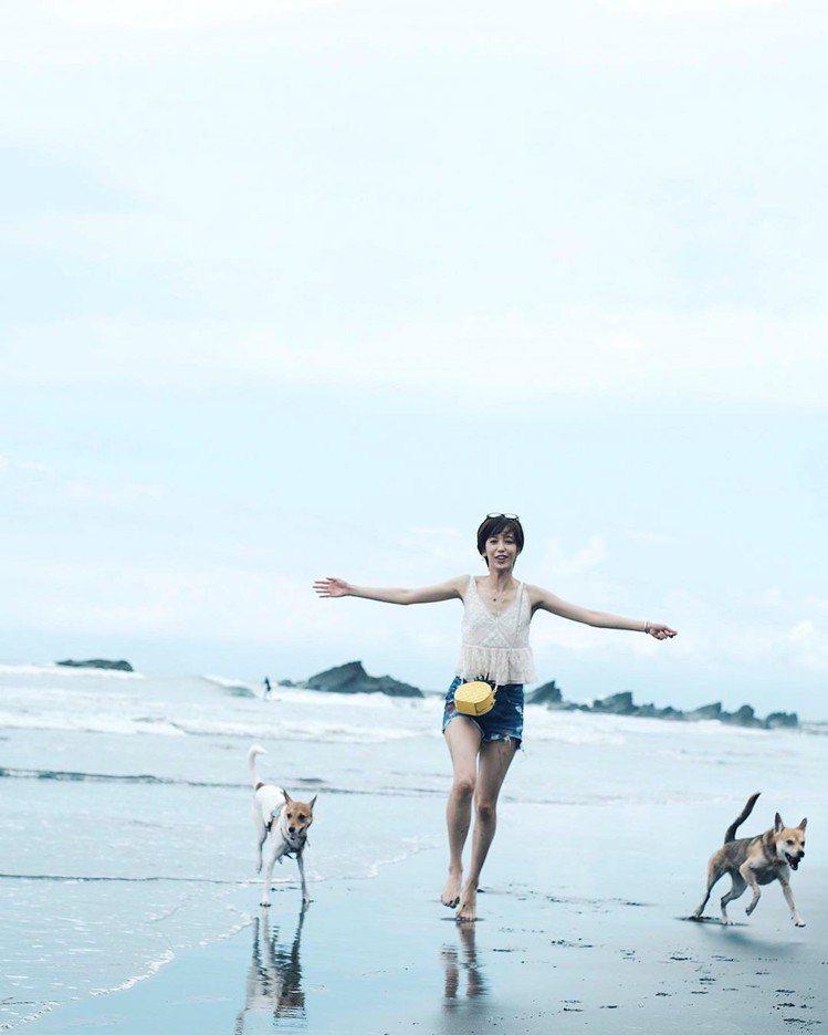 陳庭妮和愛犬在沙灘玩得不亦樂乎,身上的kate spade野餐系列鳳梨造型肩背包...