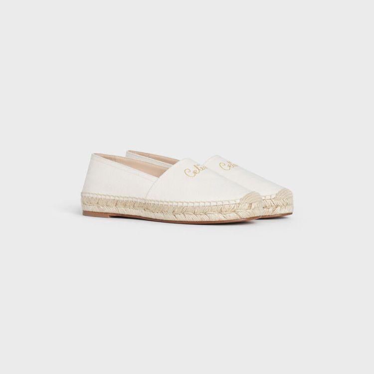 TAILLAT純白色帆布草編鞋,18,500元。圖/CELINE提供