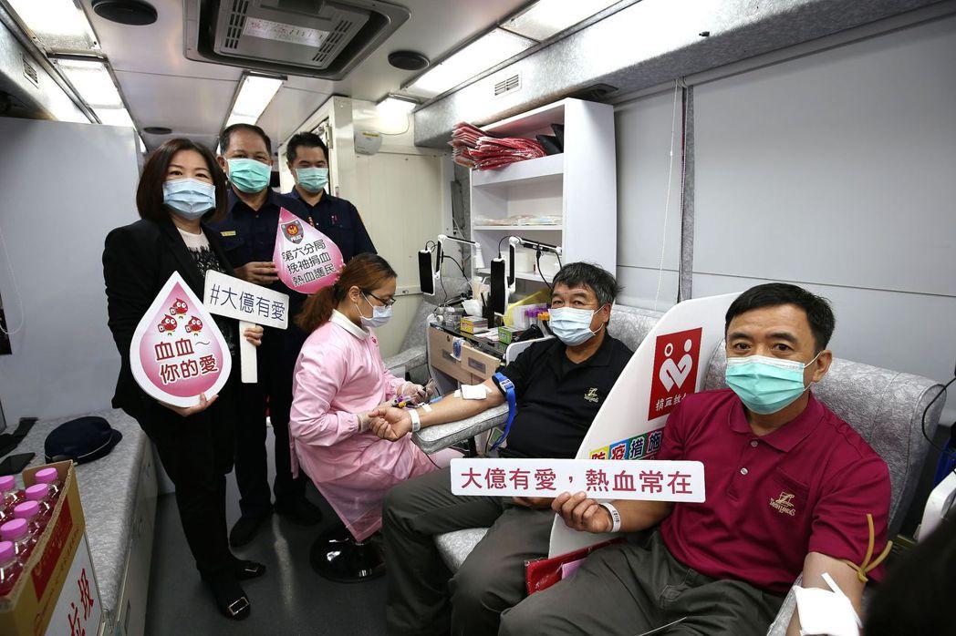 大億麗緻酒店捐血公益不忘防疫。  大億麗緻酒店 提供