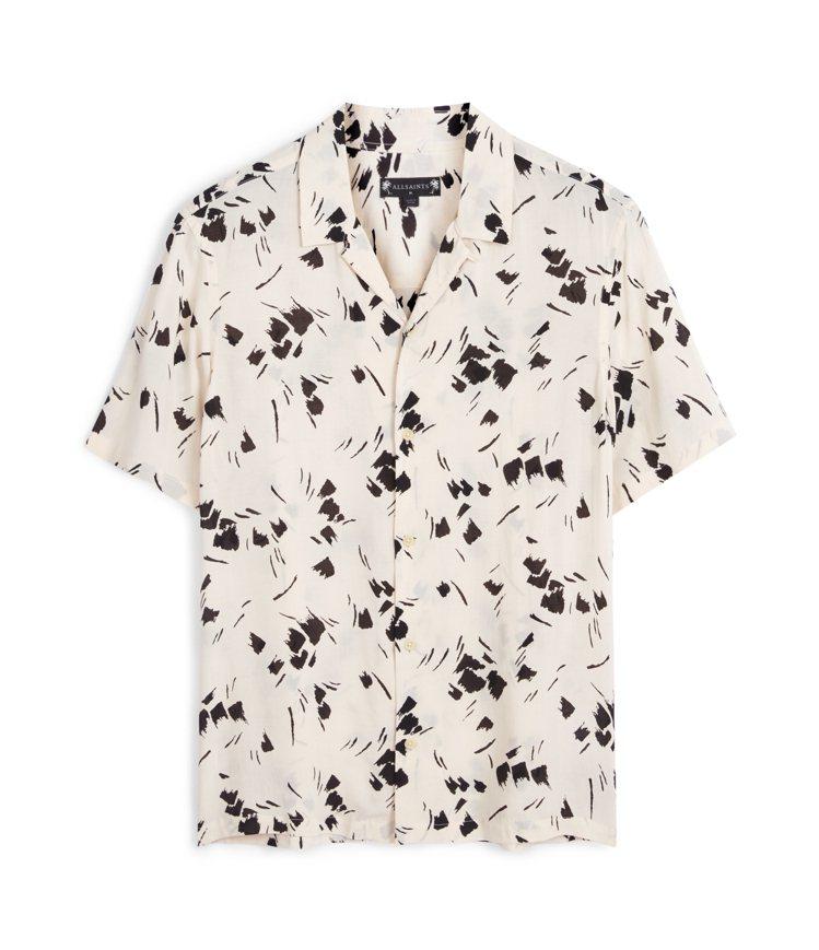 AllSaints Borealis白底印花襯衫4,800元。圖/AllSain...