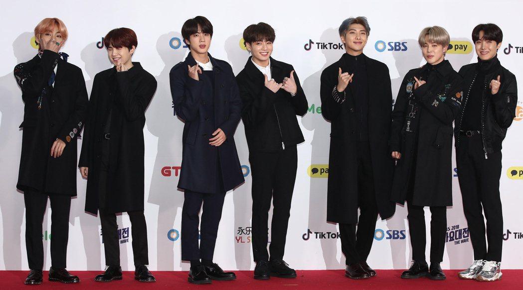 當紅南韓團體BTS。圖/歐新社資料照片
