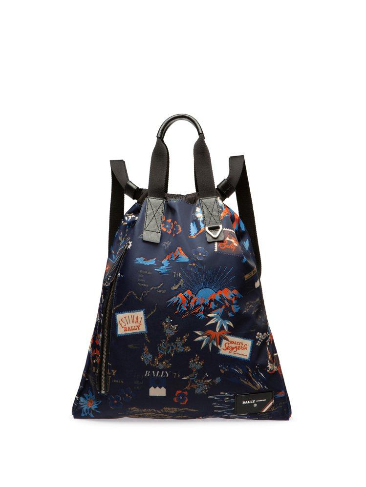 BALLY Explore深藍色尼龍彩色圖騰後背包,24,580元。圖/BALL...