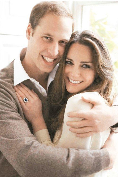 威廉王子與凱特的藍寶石訂婚戒,曾經是黛安娜王妃的訂婚戒。(法新社資料照片)