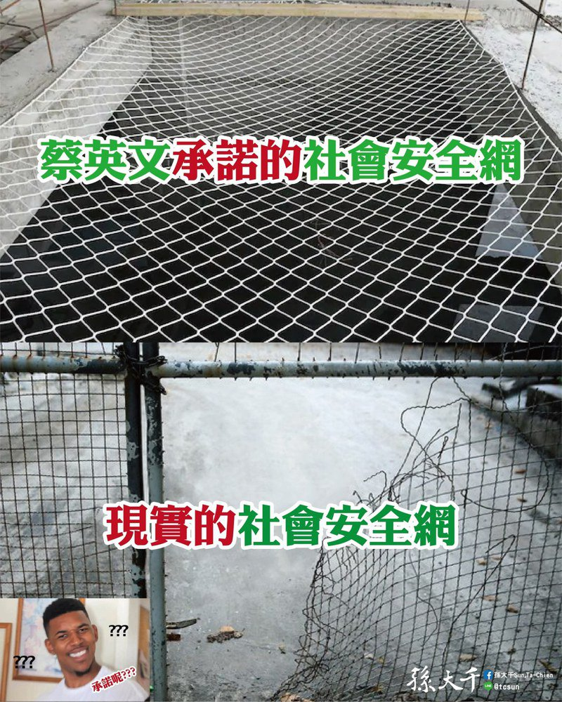 前立委孫大千說,蔡英文和小燈泡說好的社會安全網,到現在仍只聞樓梯響。圖/取自孫大千臉書