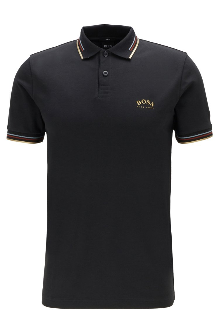 BOSS,條紋飾領黑色彈性合身Polo衫,4,400元。圖 / BOSS提供。