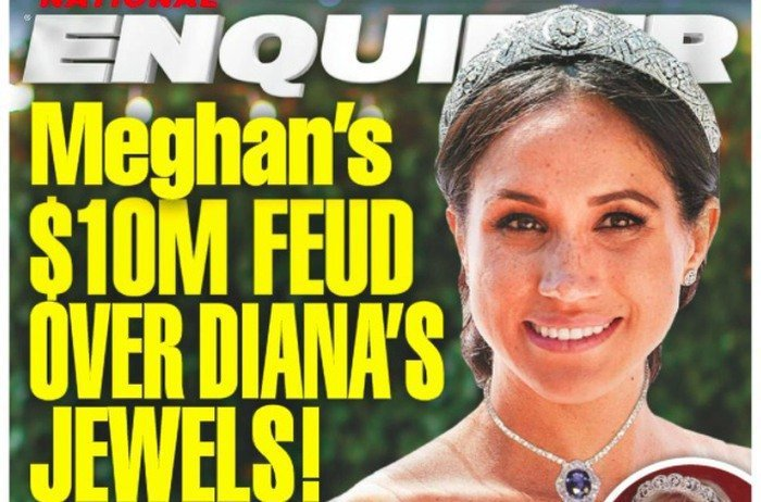 梅根被指帶走黛妃千萬的珠寶赴美。圖/摘自National Enquirer