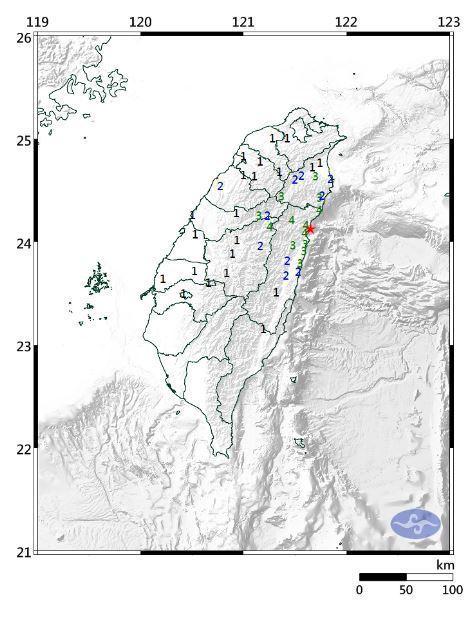 花蓮近海地震。圖/取自氣象局網站