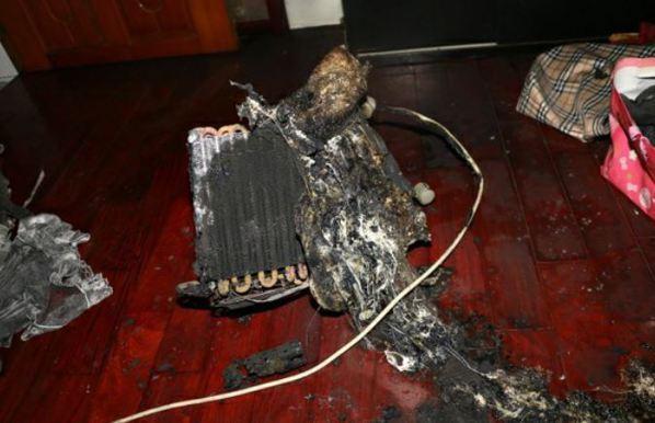 使用中除濕機起火。 圖/台中市消防局提供
