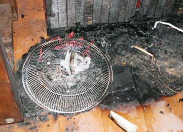 電風扇馬達內部積汙或故障而引起火災。 圖/宜蘭縣消防局提供