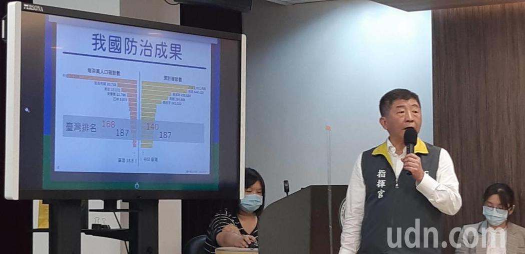 中央流行疫情指揮中心指揮官陳時中今提出進行「期中報告」。記者邱宜君/攝影