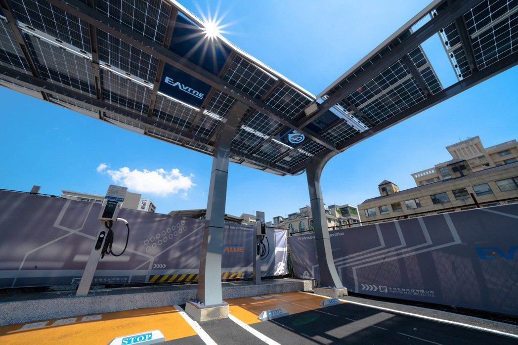 華城耗資千萬打造綠能示範站,EValue充電停車場車位上方皆設有太陽能車棚。 圖...