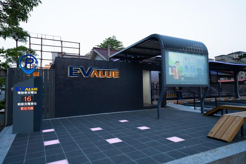 EValue內湖充電旗艦站入口建置大型戶外投影幕與燈光互動區,停車充電長知識。 ...