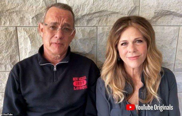 湯姆漢克斯夫婦發言祝賀,希望大家一起對抗新冠肺炎。圖/摘自YouTube