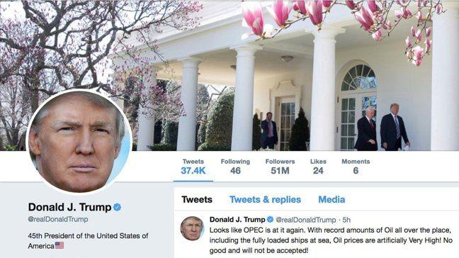 美國總統不滿推文被標註需查核事實、煽動暴力,貼出更多言論報復,吸引許多人點閱,相...