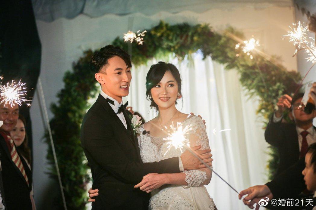吳尊與老婆迎來遲來的婚禮。 圖/擷自婚前21天微博