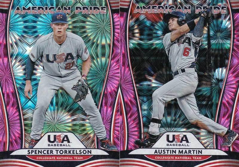 一壘手托克森(左)與外野手馬汀(右)是美國職棒2020選秀的熱門人選,兩人很有機會被老虎和金鶯挑走,成為今年的選秀狀元和榜眼。 2020 Panini Donruss 球員卡