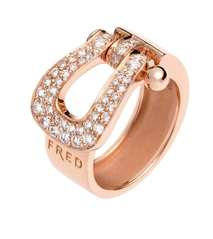 FRED FORCE 10玫瑰金寬版鑲鑽戒指。圖/斐登珠寶提供