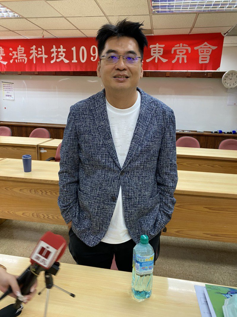 散熱大廠雙鴻今(9)日舉行股東會,圖為董事長林育申。 記者吳凱中/攝影