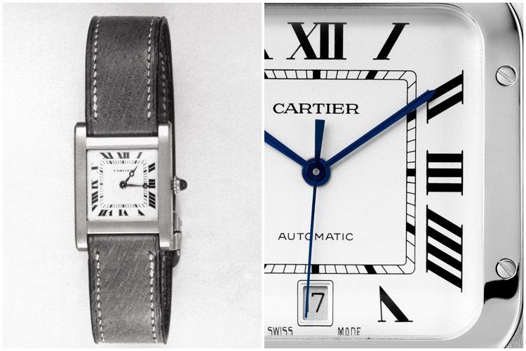 軌道式分鐘刻度環與羅馬數字搭配再一起,儼然卡地亞最具標誌性的面盤設計。圖/卡地亞...