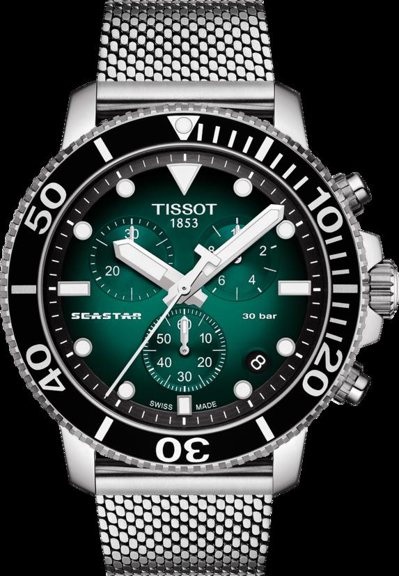 天梭表Seastar 1000計時碼表,不鏽鋼表殼及米蘭編織表帶,搭載石英機芯,...
