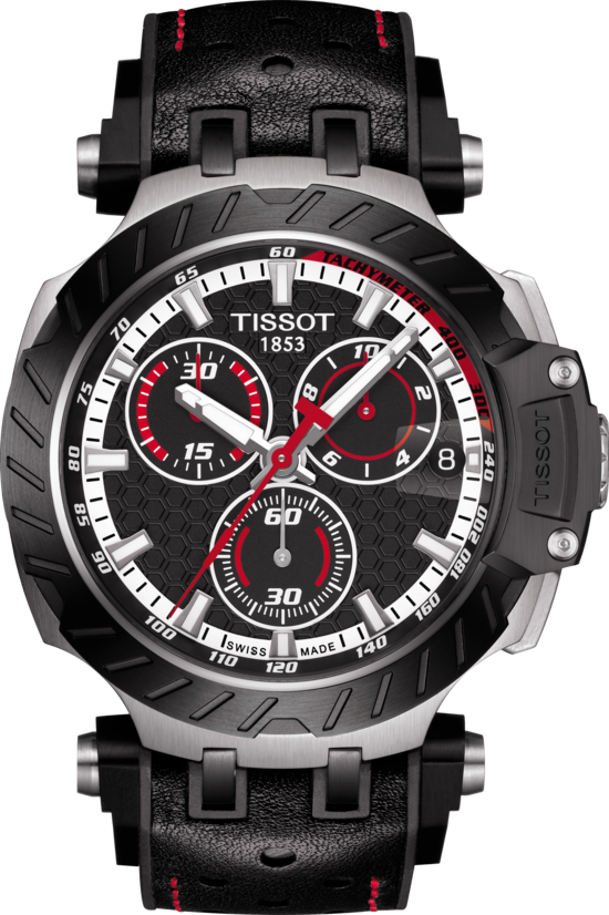 天梭表T-Race系列MotoGP石英款計時碼表,黑色PVD鍍層不鏽鋼表殼,限量...