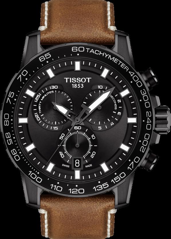 天梭表Supersport系列計時碼表,黑色PVD不鏽鋼表殼,搭載石英機芯,約1...