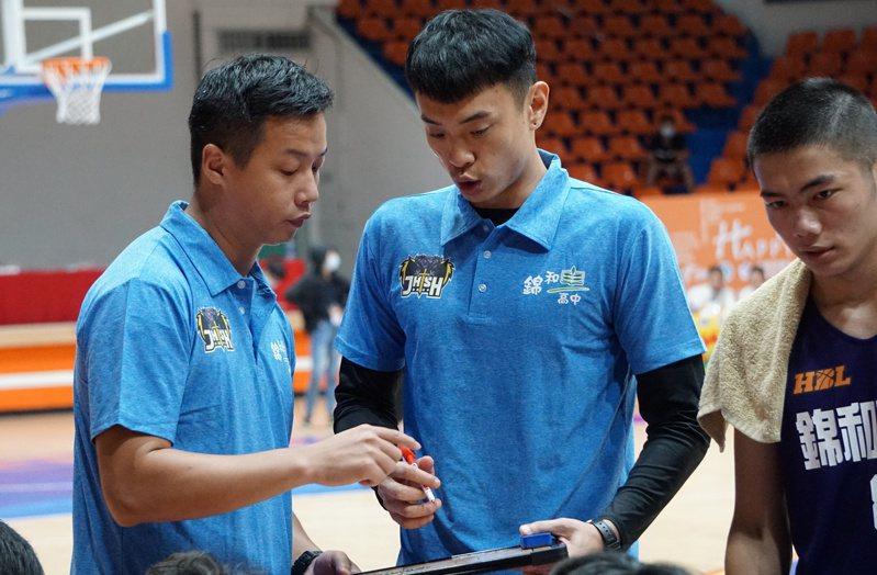 張容軒(右)與沈欣漢(左)去年加入錦和高中教練團。記者劉肇育/攝影