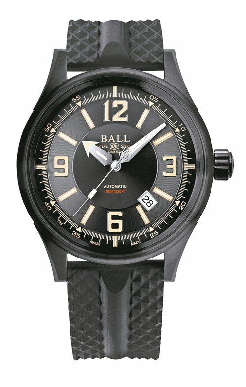 Ball,Fireman Racer DLC腕表,黑色PVD精鋼,43毫米,時間顯示,防水100米,通過5,000Gs撞擊測試,44,800元。圖/波爾表提供