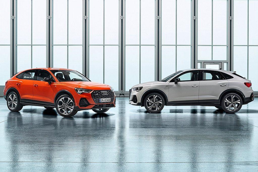 Audi Q3 Sportback則擁有更具運動化跑格的線條,最明顯的不同之處包...