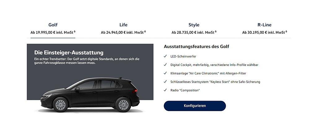 全新第八代福斯Golf入門車型1.0L TSI,已經悄悄在德國新車網站上線。 圖...