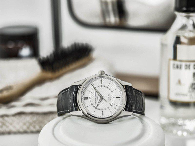 具備巴黎釘飾紋路打磨與銀色時標的Classics Automatic 24H腕表,頗具古典風格的人文韻味。圖/Frederique Constant提供
